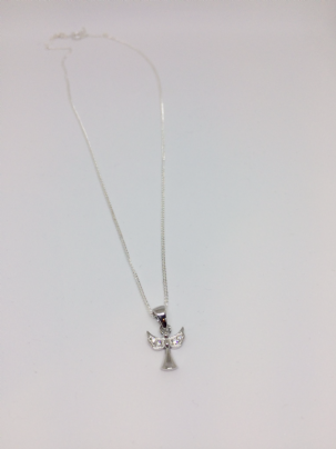 Silver Angel Necklace With Cubic Zirconia Wings